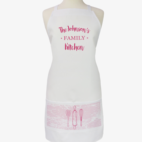 Personalized Modern Day Family Name Kitchen Adult Apron