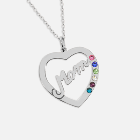 Sterling Silver Personalized Mom Birthstone Heart Necklace
