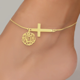 Personalized Monogram Anklet With Sideways Cross In Yellow Or Rose Gold Over Silver