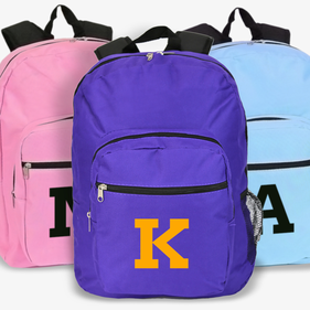 Personalized Block Initial Backpack