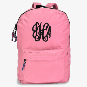 Personalized Script Monogram Pink Backpack