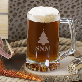 Personalized Christmas Tree Monogram Beer Mug