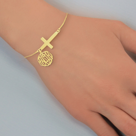 Personalized Monogram Bracelet With Sideways Cross In Yellow Or Rose Gold Over Silver