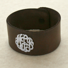 Personalized Monogram Brown Leather Cuff Bracelet