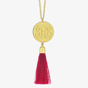 Gold Tone Personalized w/ Engraved Monogram Disk Tassel Necklace