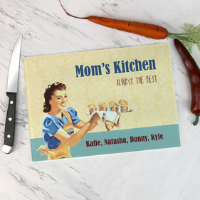 Personalized Mom's Cupcakes Kitchen Glass Cutting Board