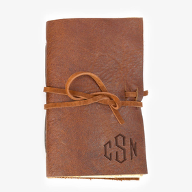 Personalized Monogram Genuine Leather-Bound Mini Journal
