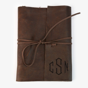 Personalized Monogram Leather Binding 3 Ring Writing Journal