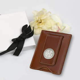 Personalized Monogram Leather Money Clip Gift Boxed