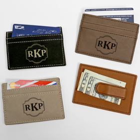 Personalized Monogram Leatherette Money Clip
