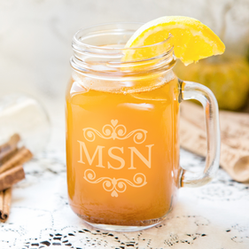 Personalized Monogram Mason Glass Jar