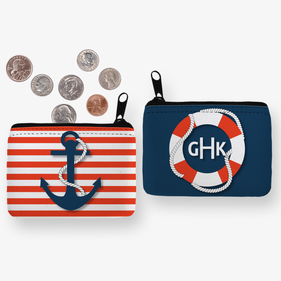 Personalized Monogram Nautical Coin Purse