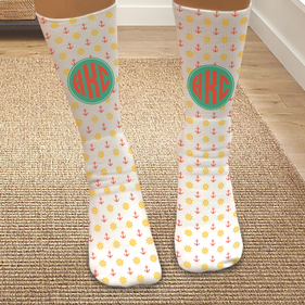 Personalized Monogram Over The Sea Tube Socks