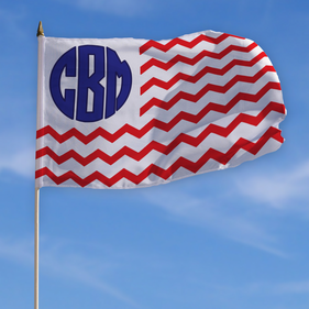 Personalized Monogram Patriotic Flag w/ Stick