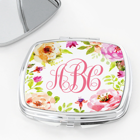 Flash Sale - Spring Flowers Monogram Square Shaped Compact Mirror