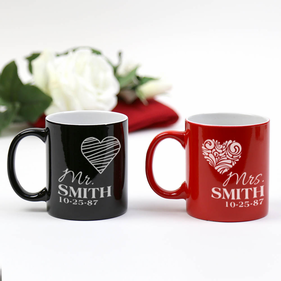 Personalized Mrs. and Mr. Ceramic Mugs