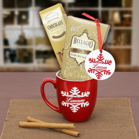 """Let it snow"" Hot Cocoa & Cookies  w/ Personalized Ornament and Mug Gift Set"