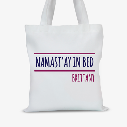 Personalized Namast'ay In Bed Kids Tote Bag
