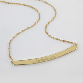 Personalized Name Bar Necklace in Gold over Silver