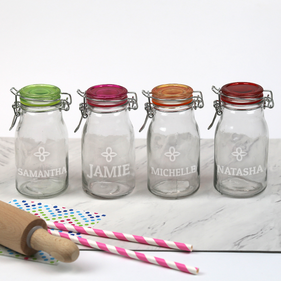 Personalized Name Colored Lid Mini-Jar Storage Set of Four