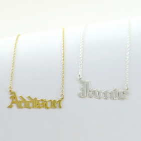 Personalized Gothic Name Necklace