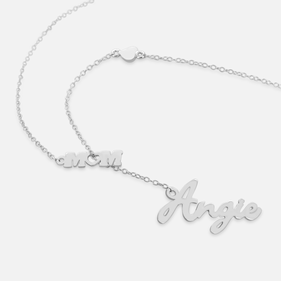Personalized Silver  Name Necklace w/ Mom Pendant
