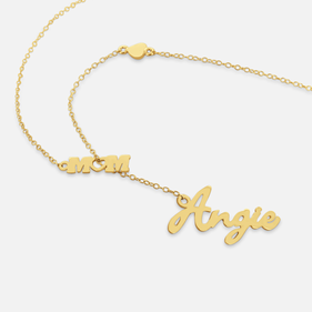 Personalized Name Necklace attached with 'Mom' Pendant in Gold over Silver