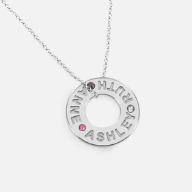 Sterling Silver Family Necklace Personalized w/ Names & Swarovski Birthstones