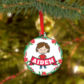 Personalized Christmas Metal Ornament for Boys