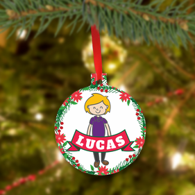 Personalized Christmas Metal Ornament for Boy