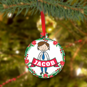 Personalized Christmas Metal Ornament for Dad