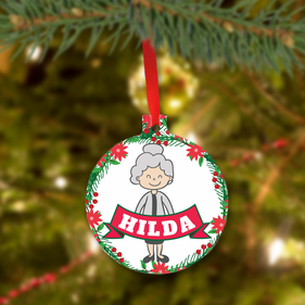 Personalized Christmas Metal Ornament for Grandma