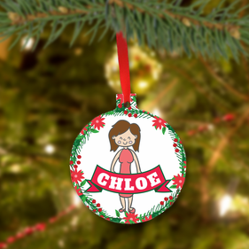 Personalized Christmas Metal Ornament for Girl