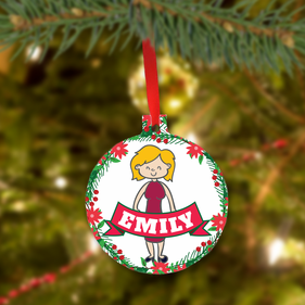Personalized Christmas Meatl Ornament for Mom
