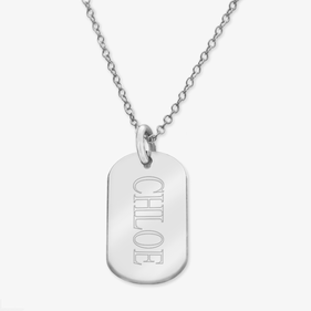 Personalized Name Sterling Silver Oval Necklace Engraved