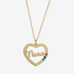 Personalized Nana Birthstone Heart Necklace