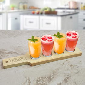 Exclusive Sale - Personalized Natural Finish Wood Flight Sampler Paddle