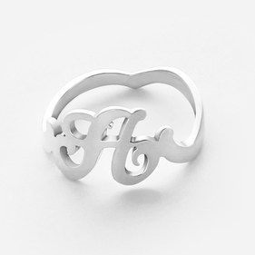 Sterling Silver Personalized Single Initial Ring