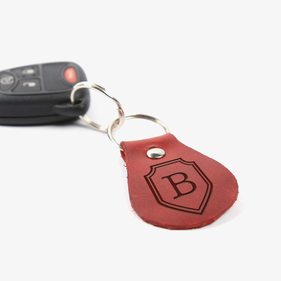 Personalized Oval Initial Leather Keychain