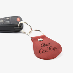Personalized Oval Leather Car Keys Keychain