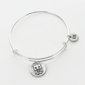 Personalized Owl Charm Bangle
