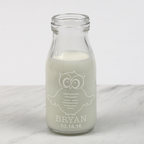 Personalized Owl Baby Shower Milk Bottle