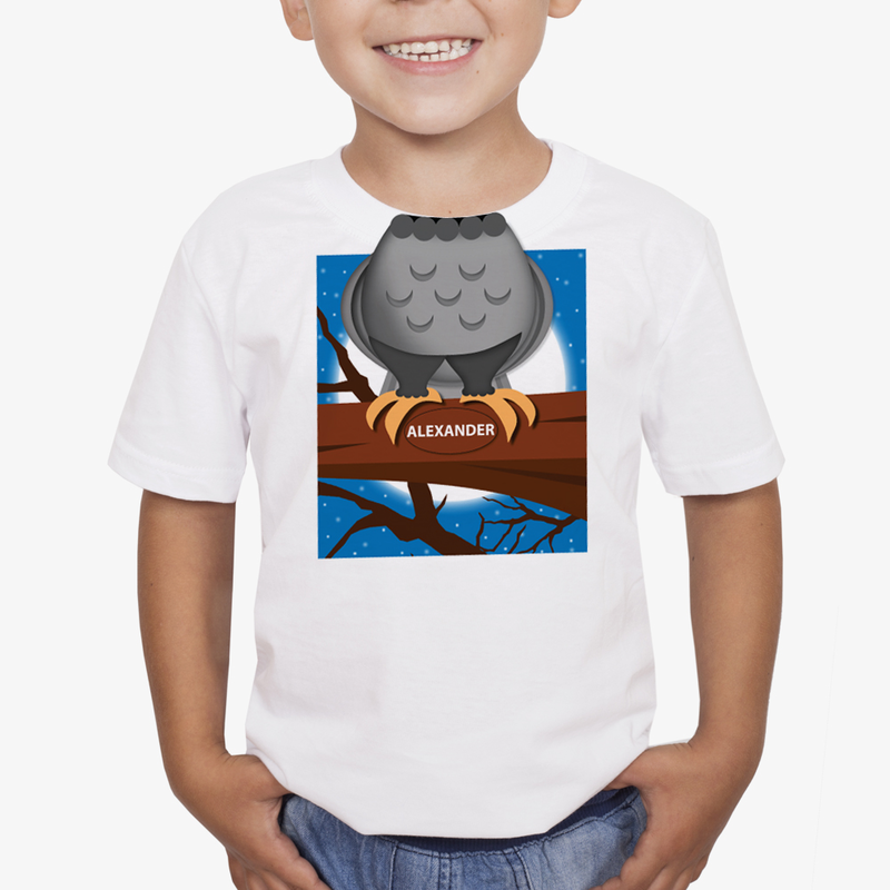 Personalized Kids Owl On A Branch T Shirt Buy Now