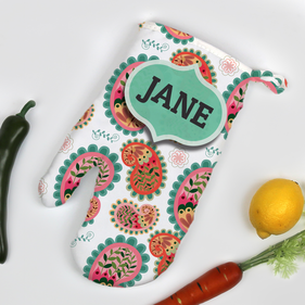 Personalized Paisley Design Oven Mitt