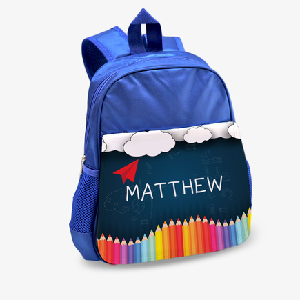 Personalized Paper Plane Kids Blue Backpack