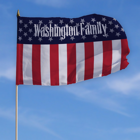 Personalized Patriotic Family Flag w/ Stick
