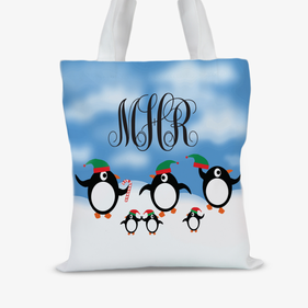 Personalized Penguin Christmas Tote Bag