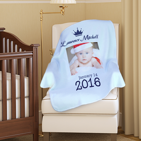 Personalized Photo Custom Name And Date Baby Blanket