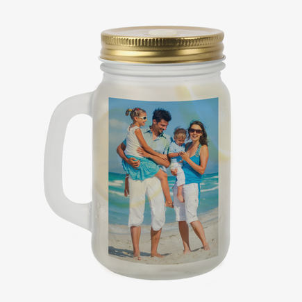 Personalized Photo Frosted Mason Jar w/ Lid & Straw