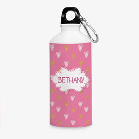 Personalized Pink Hearts Aluminum Water Bottle